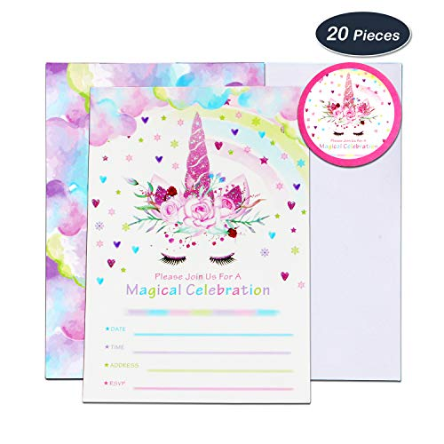 WERNNSAI Unicorn Party Invitations Cards with Envelopes and Round Stickers For Girls Birthday Baby Shower Rainbow Unicorn Themed Party Supplies 20 Sets ()