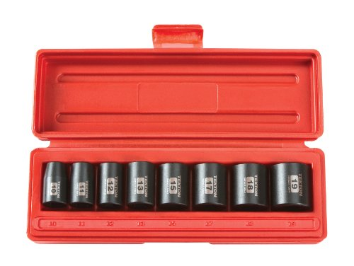 Shallow Socket Metric (TEKTON 3/8-Inch Drive Shallow Impact Socket Set, Metric, Cr-V, 6-Point, 10 mm - 19 mm, 8-Sockets | 4795)
