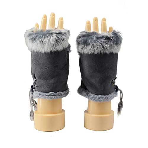 BAOBAO Women' Fuzzy Fur Fingerless Gloves Sweet Korea Style Thick Plush Warm Mittens