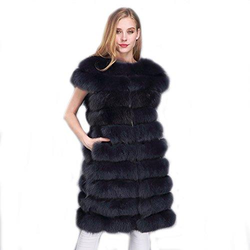 MMFur Women Real Fox Fur Vest with Small Shoulder Detachable Length Deep Gray M