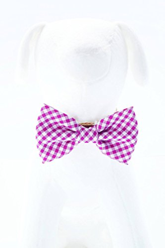 (Magenta Gingham - Hand Stitched Dog Cat Pet Bow Tie Bowtie Collar Accessory (Collar Not Included))