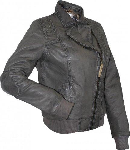 Damen Lederjacke Trend Fashion echtleder Jacke aus Lamm Nappa Leder Grau 7R3sdO