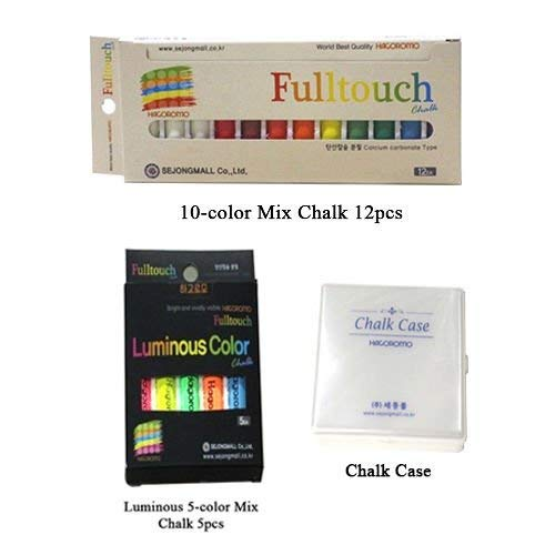 Hagoromo Fulltouch 10-Color Mix Chalk 12pcs ; HAGOROMO Fulltouch Luminous_5 Colors_5 pcs_Mix, Chalk Case by Hagoromo