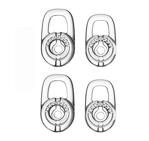 (Feicuan L/M Replacement Eargels Earbuds Eartips for Plantronics Discovery 925 975, Marque M155 , Marque 2 M165 ,Savor M1100, M100 M55 M28 M25 Bluetooth Headset (Clear, Pack of 4))