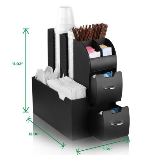 Coffee Cup and Lid Dispenser Holder Condiment Rack Beverage Organizer