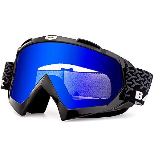 - BATFOX Motorcycle ATV Goggles Dirt Bike Motocross Safety ATV Tactical Riding Motorbike Glasses Goggles for Men Women Youth Fit Over Glasses UV400 Protection Shatterproof (Black&blue)