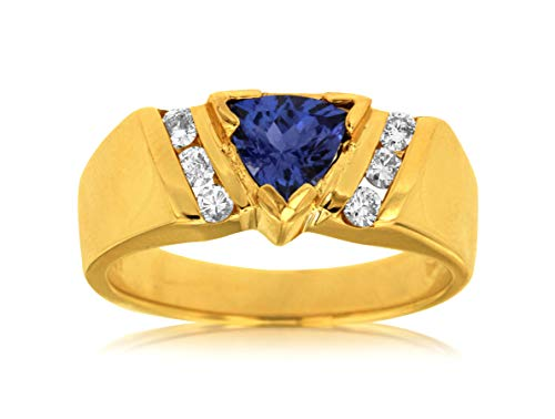 Milano Jewelers .99CT Diamond & AAA Tanzanite 14KT Yellow Gold SEMI Bezel Engagement Ring ()