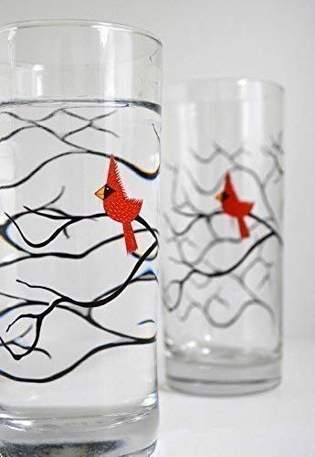 Christmas Cardinal Glassware - Set of 2 Red Bird Hostess Gift, Holiday Glassware, Christmas Glasses