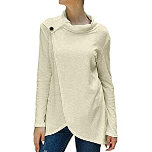GOWOM Women's Wrap Shirts Turtleneck Loose Button Lightweight Pullover Tunic Tops