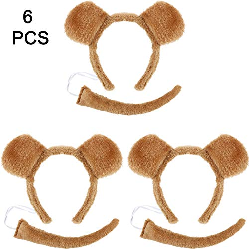 WILLBOND 6 Pieces Bear Ears Headband and Bear Tail Costume Set for Halloween or Costume Party Decoration