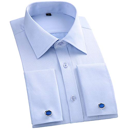 TAOBIAN Mens Dress Shirts French Cuff Long Sleeve Formal Slim Fit Shirts (Cufflink Included) Blue Stripe US M