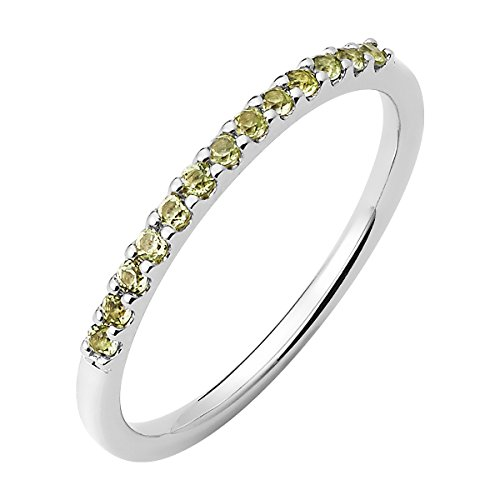 14K White Gold Peridot Birthstone Stackable Band Ring
