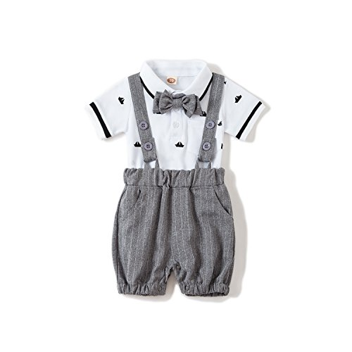 US Baby Boys Gentleman Jumpsuit Outfits Suits Bow Tie Overalls Clothes Set(0-6Months) by Baby Love