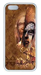 iPhone 5S Case,Legend Native American TPU Rubber Soft Case Back Cover for iPhone 5/5S White