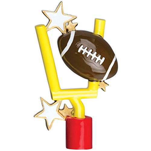 (Personalized Football Christmas Tree Ornament 2019 - Sport Ball with Gold Star Stand Team Player Athlete NFL Coach Hobby School Active Foot Profession Gift Year - Free Customization)
