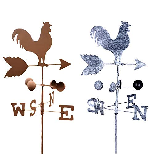 Metal Weathervane Vintage Rooster Weather Vane Metal Iron Wind Speed Spinner Direction Indicator Garden Ornament Decoration Patio Yard 120cm(Color Random) (Weathervane Coop Chicken)