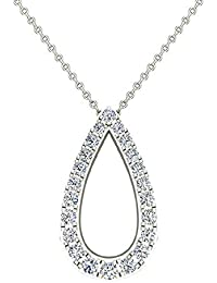 """0.34 ct Teardrop Shape Diamond Necklace 14K Gold with 20"""" Chain"""