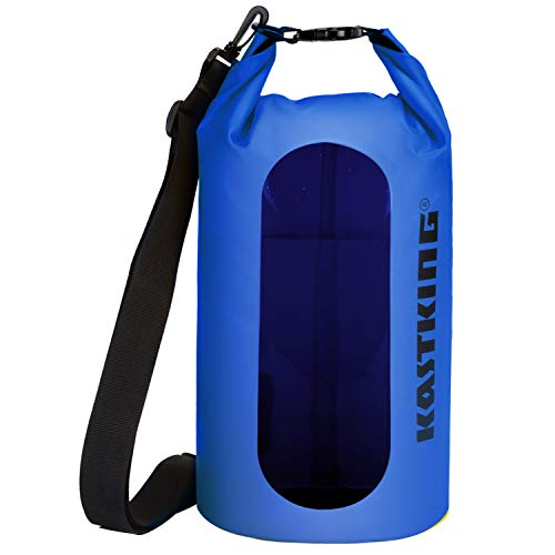 KastKing Waterproof Dry Bag 10L/20L/30L, Roll Top Sack for Kayaking, Camping, Innovative Clear Window Help with You Not Have to Unload The Whole Bag to Get What You Need. (Blue, 30L)