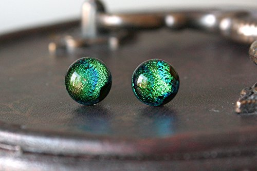 - Sprite Earring Posts - Green Blue Sparkling Fused Dichroic Glass Ear Studs, Hypoallergenic Surgical Steel Jewellery Handmade by Ikuri, FREE SHIPPING