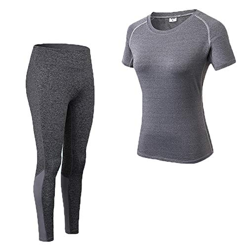 Shimmery Women's 2-Piece Stretch Activewear Short Sleeve T-Shirt Top + Pants Workout Set Blue M by Shimmery