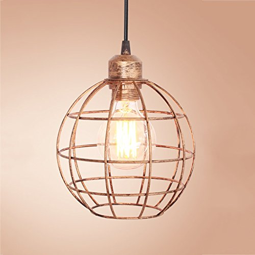 (Baycher Industrial Cage Foyer Chandelier Retro Gold Pendant Light with Hollow Iron Cage Shade Barn Warehouse Ceiling Lamp (Size : B))
