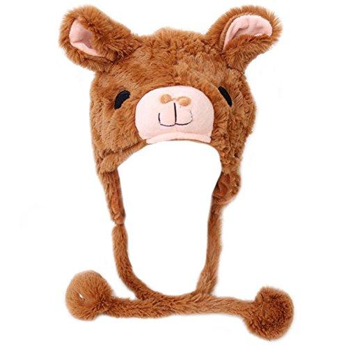 - TOPTIE Girls Animal Design Winter Thermal Hat With Ears - Panda, Alpaca, Dolphin-Alpaca