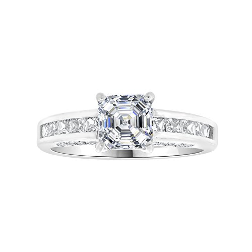 14k White Gold, Lady Wedding Ring Princess Created CZ Crystals 6mm 1.0ct Size 7 by GiveMeGold