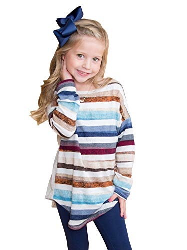 7 Color Rainbow (Little Girls Cute Color Block Striped Tunic Tops Long Sleeves Shirts Rainbow Blouses Khaki Tee Size)