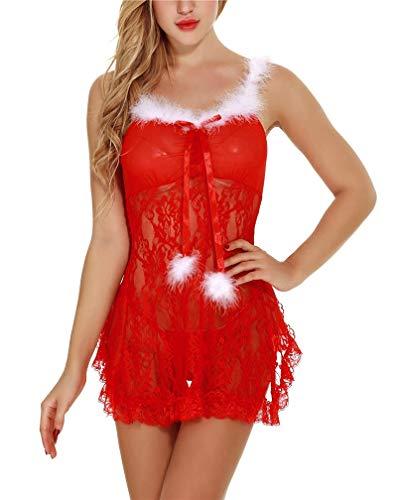 LeaLac Womens Christmas Lingerie Red Santa Babydolls Chemises Set for Women L82 668 XL -