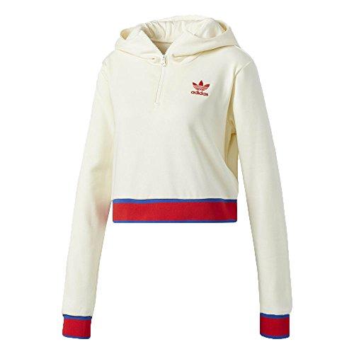 (adidas Originals Embellished Arts Women's Cropped Hoodie Cream White cv9437 (Size XL))