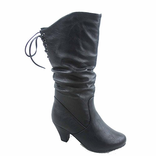 Win-40k Girl's Youth Fashion Round Toe Low Heel Slouch Half Back Lace Zipper Boots Shoes (3, (Round Toe Girls Boots)