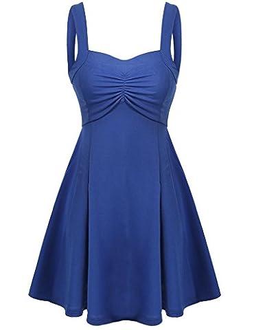 Elesol Women Fit Flare Skater Dress Knee Length Mini Dress(Royal Blue/XL) - Flare Mini Dress