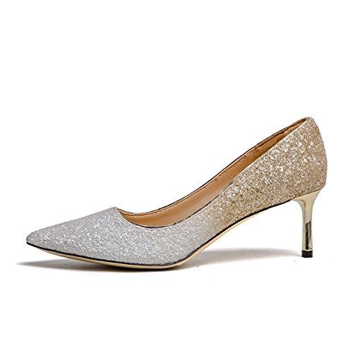 Talons Parti Bout à Hauts 6CM C Belles élégantes 5 Mariage Dames Pompes Pointu Couleurs De Paillettes Chaussures Mariée De Femmes q7tCwITC