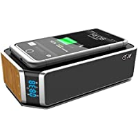 JE Portable Wireless Speaker With QI Wireless Charger,10W Bluetooth Speaker,Charging Pad For Iphone 8/Plus/X,Samsung Galaxy S9/8/7/6 &Qi Enabled Devices,Stereo,Enhanced Bass,Alarm Clock,TF Card,AUX&FM