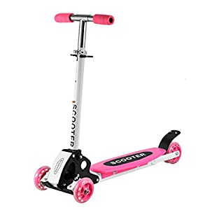 Flagup Scooter for Kids, Aluminum 3 Wheel Foldable Kick Scooter for Boys Girls Adjustable Height Flashing Wheels Best Gifts for Children from 2 to 16 Years Old (Pink)