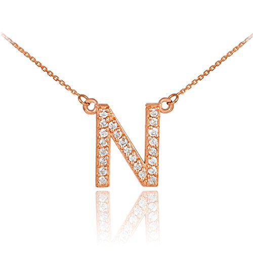 Fine 14k Rose Gold Diamond-Studded Initial Letter N Pendant Necklace, 18
