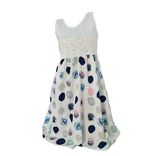 Senza Plus Abito Stampato Coolred Midi Maniche Hollow Crochet Floreale size White donne xRUB6wfq7