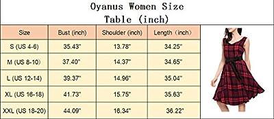 Oyanus Women's Summer Casual Loose Plaid T-shirts Swing Tank Top Dress