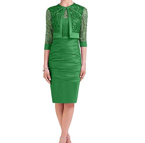 Damen Promkleider Spitze Grün mit Knielang Charmant Langarm Rosa Brautmutterkleider Abendkleider Bolero FwBqSB