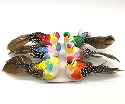 Feather Bird Ornaments - lwingflyer 6pcs Artificial Simulation Foam Birds with Metal Clip Feather Bird Ornaments DIY Craft for Wedding Decoration Home Garden Party Accessories 11cm/4.33inch (Metal Clip)