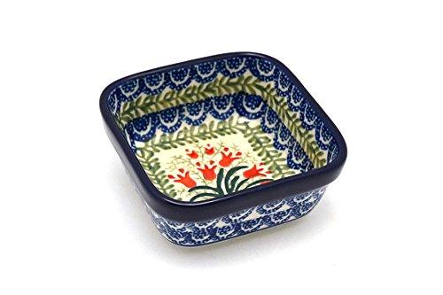 Polish Pottery Ramekin - Square - Crimson Bells by Polish Pottery Gallery