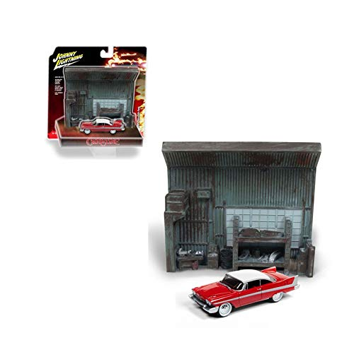- New DIECAST Toys CAR Johnny Lightning 1:64 Diorama Christine - 1958 Plymouth Fury with Garage Resin Facade JLSP032-24