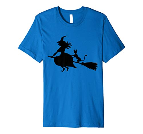 Flying Witch Cat Halloween T-Shirt -