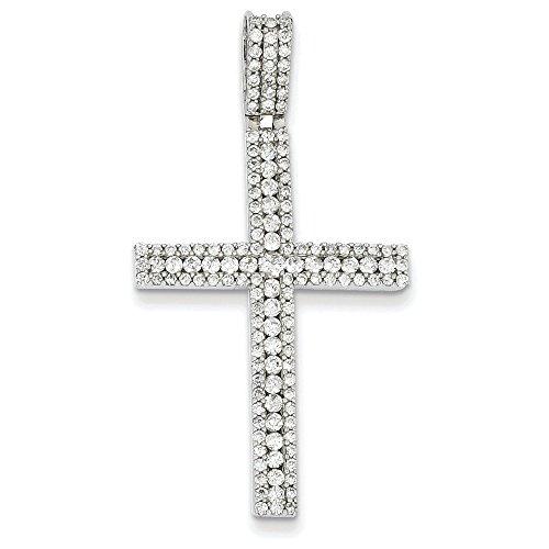 Or blanc 14 carats Diamant Pendentif Croix latine JewelryWeb