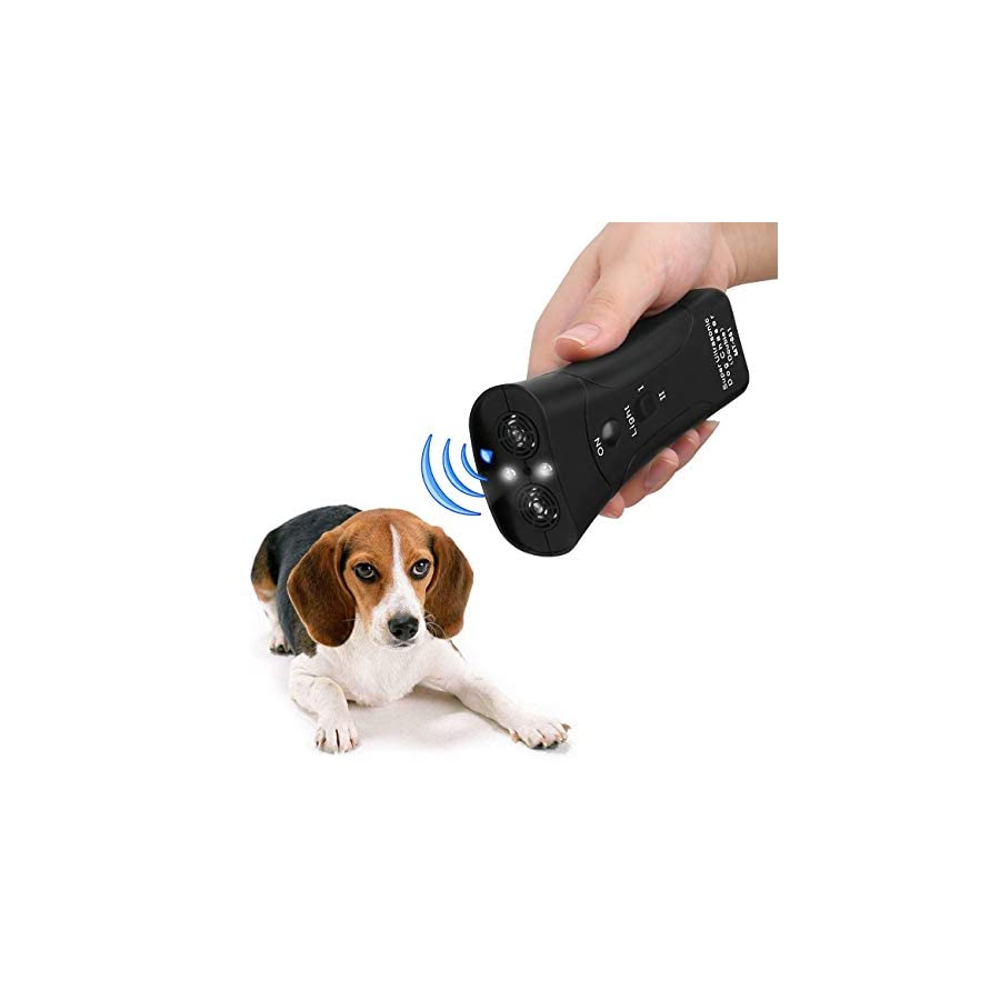 Handheld Dog Repellent, Dual Channel Electronic Animal Repellent, Handy Ultrasonic Dog Training Pet Bark Stopper for Outdoor Camping Garden