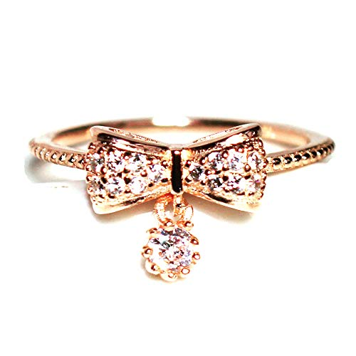 (Gieschen Jewelers 'Ayako' 18k Rose Gold-Plated Dainty CZ Ribbon Bow Charm Ring, Size)