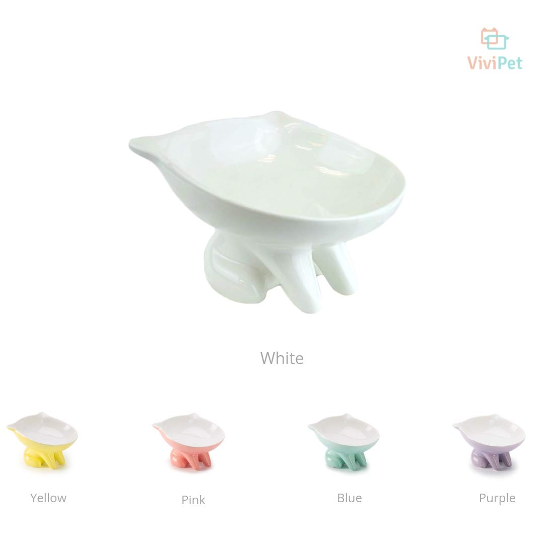 ViviPet Q Bowls and Big Head Water Bowl for Cat and Dog Under 20 Pound (White, Q Bowl)