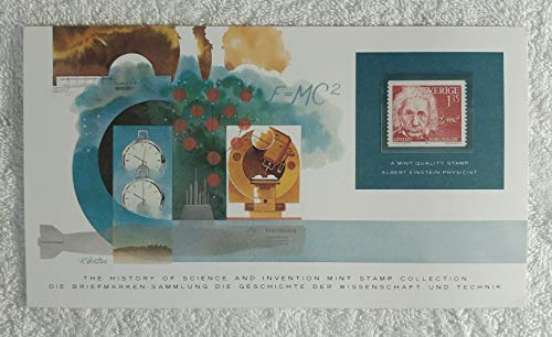 Albert Einstein - Postage Stamp (Sweden, 1981) & Art Panel - The History of Science & Invention - Franklin Mint (Limited Edition, 1986) - Physics, Physicist