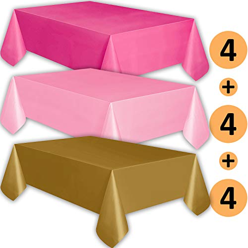 Table Plastic Pink Hot - 12 Plastic Tablecloths - Hot Pink, Classic Pink, Gold - Premium Thickness Disposable Table Cover, 108 x 54 Inch, 4 Each Color