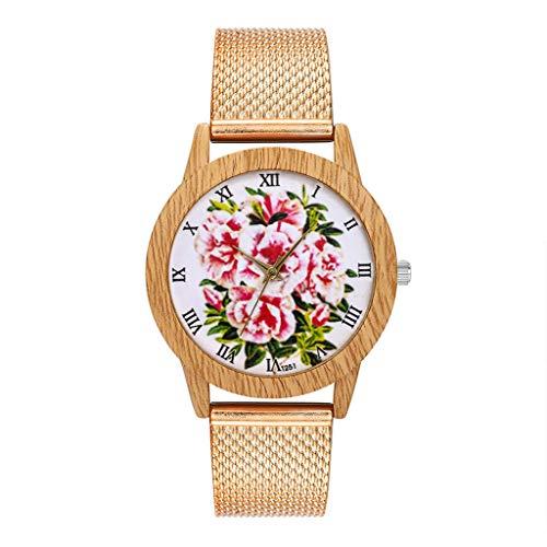 Coohole-Wacth Band Fashion Nature Wooden Grain Leisure Flower Dial Silicone Strap Quartz Watch